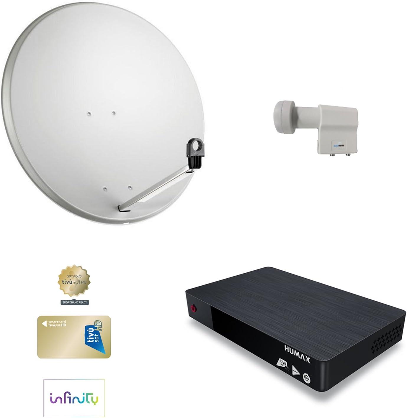 Kit Parabólica satélite 80 LNB TWIN doble Decoder Tivusat Uno Humax con tarjeta HD