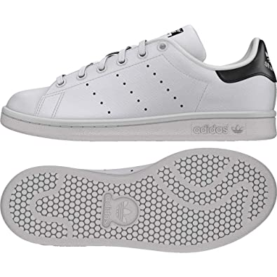 on sale 75557 af22c Amazon.com   adidas Originals Stan Smith J White Black Holographic Leather  3.5 M US Big Kid   Sneakers