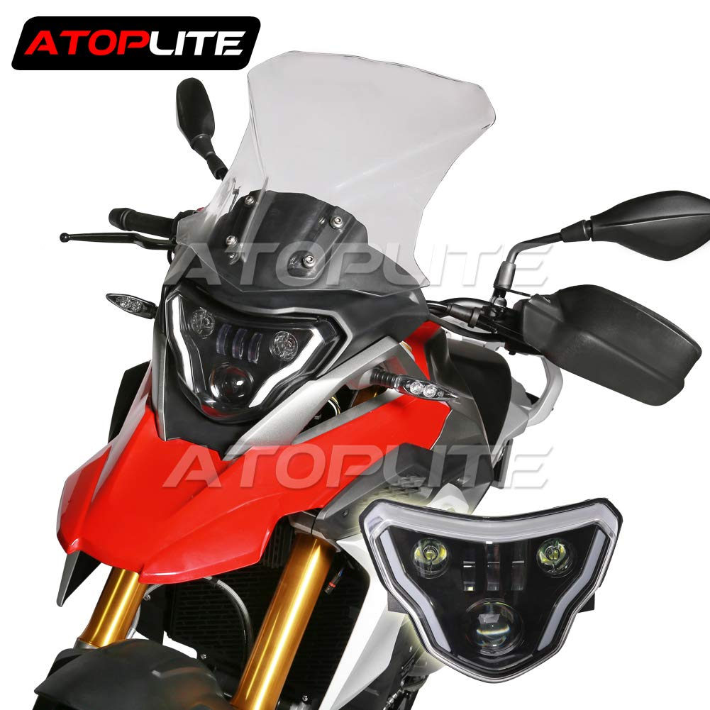 ATOPLITE BMW moto LED Headlight High//Low Beam with Angel Eyes DRL Assembly Kit and Replacement Headlight For BMW F650GS//F700GS//F800GS F800ADV F800R