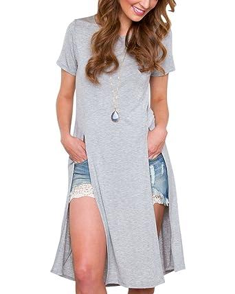 05a55cedf63c T-shirt Longue Femme Manche Courte Coté Fendu Top Tunic Blouse Gris ...