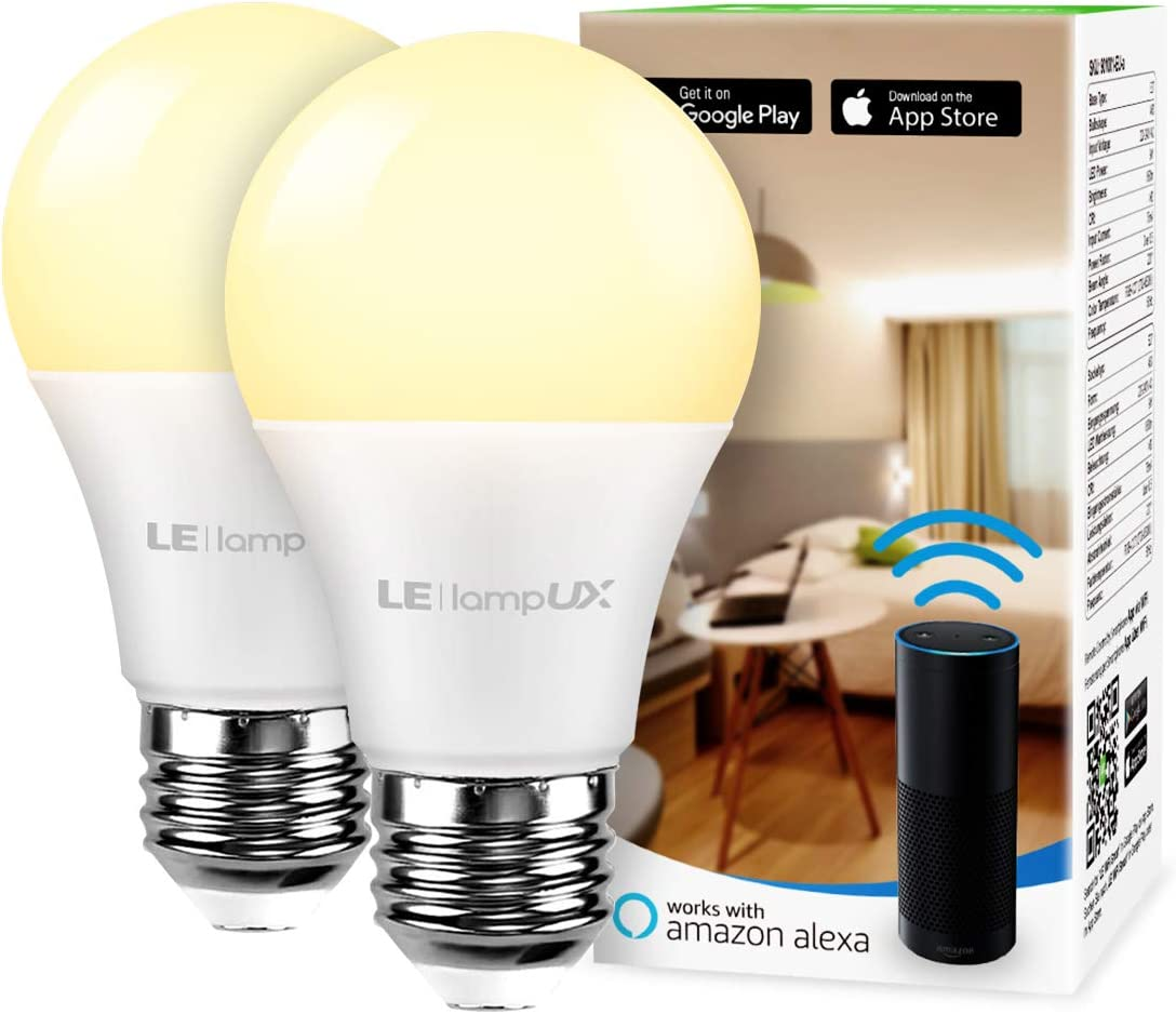 Smart LED Light Bulbs Works with Alexa and Google Home, 60 Watt Equivalent, Dimmable with App, Warm White 2700K, No Hub Required, A19 E26, 2.4GHz WiFi, Pack of 2