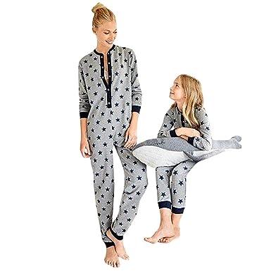 47bda70832 Familie Pyjama Damen Jumpsuit Mädchen Kuscheliger Overall mit Pentagramm  Drucken Schlafanzug: Amazon.de: Bekleidung