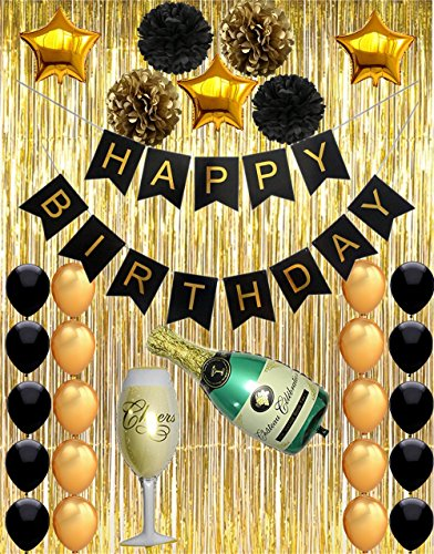 Happy Birthday Party Supplies, Black and Gold Birthday Party Decorations, Happy Birthday Banner with Latex & Star Balloons, Gold Shiny Curtains, Decorations for Birthday Party VAG009A ()