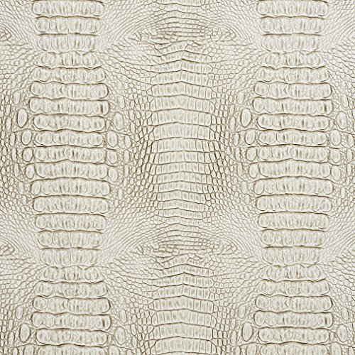 (Stone Beige and Off White Reptile Skin Texture Vinyl Upholstery Fabric by the yard)