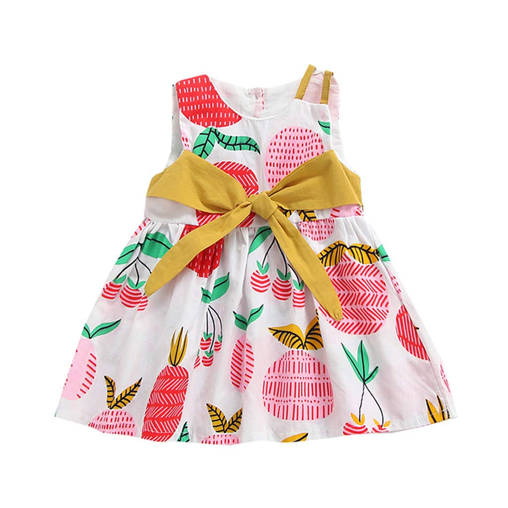 Denim Skirt,Summer Kids Baby Girls Snowflake Fawn Pleated Dress Sleeveless Party Dress,Baby Boys' Tops,Pink,4-7T