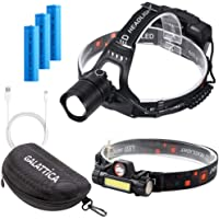 Galattica Ultra-Bright LED Headlamp for Camping Hiking Fishing Zoomable 3 Batteries - USB Power Bank & Dual Light…