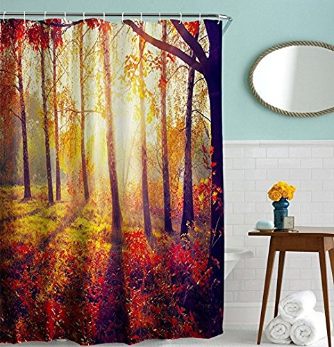 Flaming Morning Grass Forest Shower Curtain, Bright Sunshine Vacation Hiking Beautiful Natural Scene Light Weight Mildew Free Bathroom Curtain