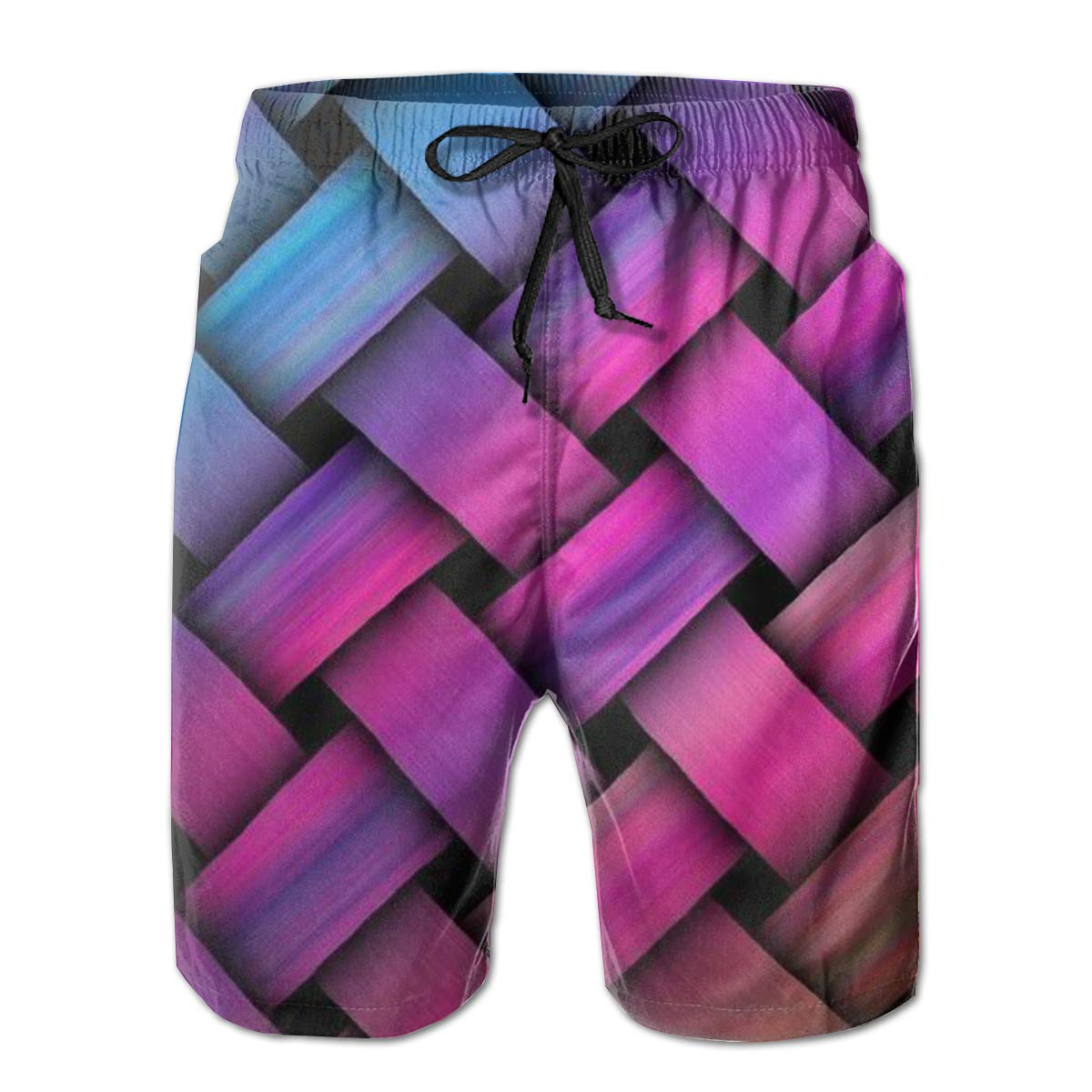 FCNUGS Mens Color Stripe Summer Holiday Quick-Drying Swim Trunks Beach Shorts Board Shorts