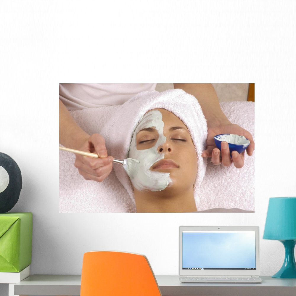 Wallmonkeys Spa Esthetician Applying Organic Facial Masque Wall Decal Peel and Stick Graphic WM67703 (24 in W x 16 in H)