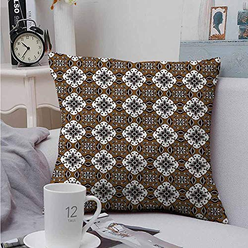 Double-Sided Printing Throw Pillowcase Chocolate Batik Floral Pattern Velvet Soft Soild Decorative 16 X 16 Inch Double Sided Quilted Batik