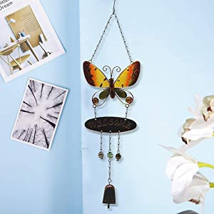 JOXJOZ Butterfly Wind Chimes Outdoor/Indoor Metal & Stained Glass Wind Chime Wall Hanging for Home,Party,Festival Decor,Garden,Yard Decoration,Gift for Mom and Grandma (Yellow)