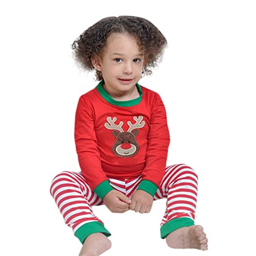 Kids Xmas Pajamas, Toddler Baby Boy Girl Deer Print Long Sleeve Shirt + Pants Christmas Outfit Clothes Set (Red, 3T)