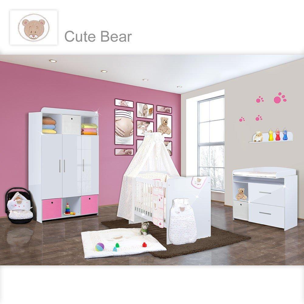 Babyzimmer Mexx in Weiss Hochglanz 11 tlg. mit 3 türigem Kl. + Cute Bear Rosa