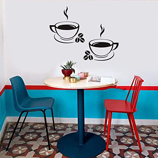 Kitchen Coffee House Cup Wall Stickers Decal Mural Home Decor Removable SL