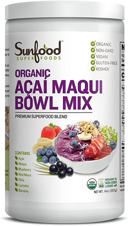 Amazon Com Sunfood Acai Maqui Bowl Mix 14oz Organic Health