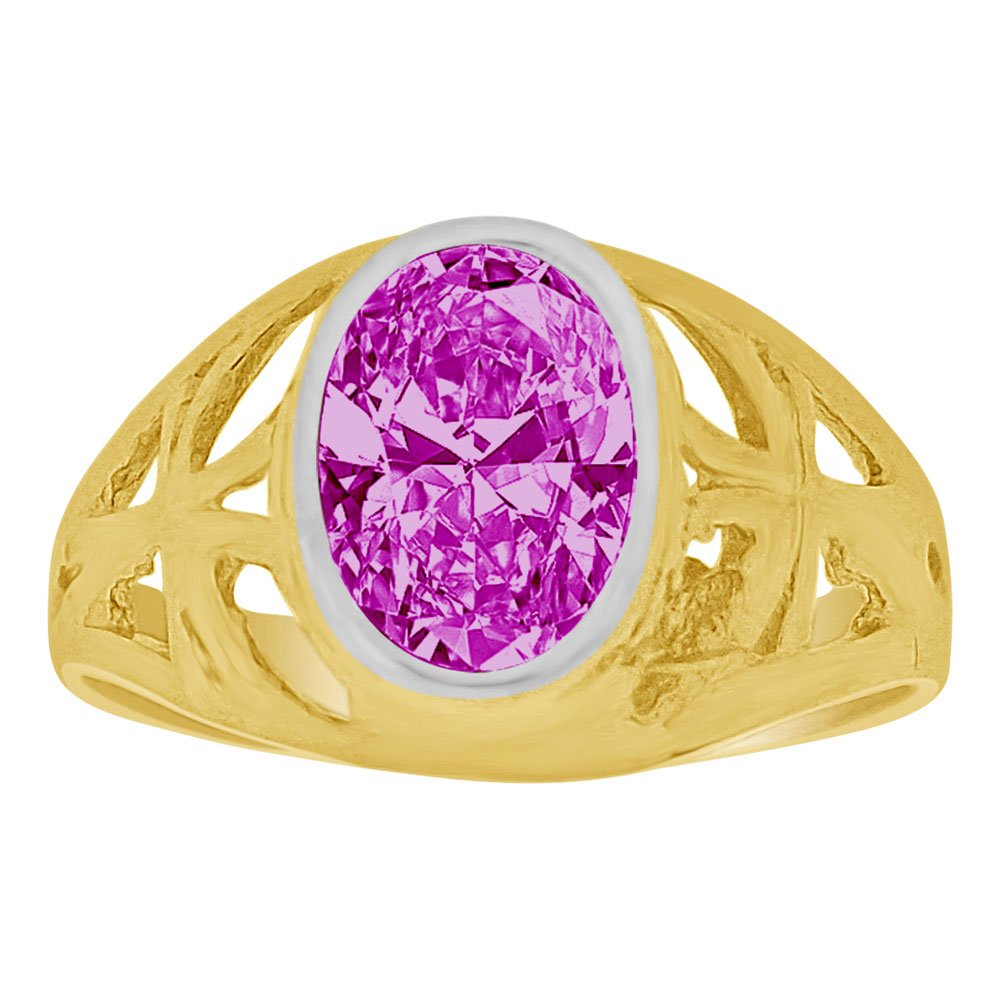 14k Yellow Gold, Small Size Child Ring Adult Pinky Ring Created Cubic Zirconia Crystal Cross Design Purple Size 3.5