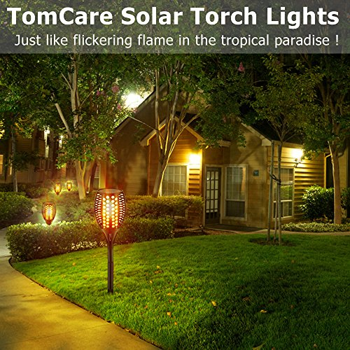 TomCare Solar Lights, Waterproof Flickering Flames Torches Lights Outdoor  Landscape Decoration Lighting Dusk To Dawn Auto ...
