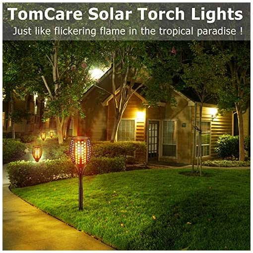 Garden and Outdoor TomCare Solar Lights Upgraded, 43″ Waterproof Flickering Flames 96 LED Torches Lights Outdoor Solar Landscape Decoration Lighting Auto On/Off Pathway Lights for Garden Patio Driveway, Black(4) outdoor lighting