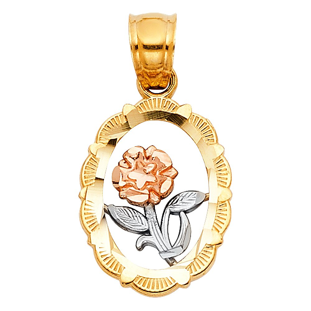 Million Charms 14k Tri-Color Gold Small//Mini Oval Frame with Rose Flower and White Stem with Leaves Charm Pendant 12mm x 12mm