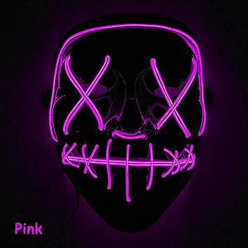 Romison Máscara de Halloween, Moda, Creativa, con luz LED, para Disfraz de