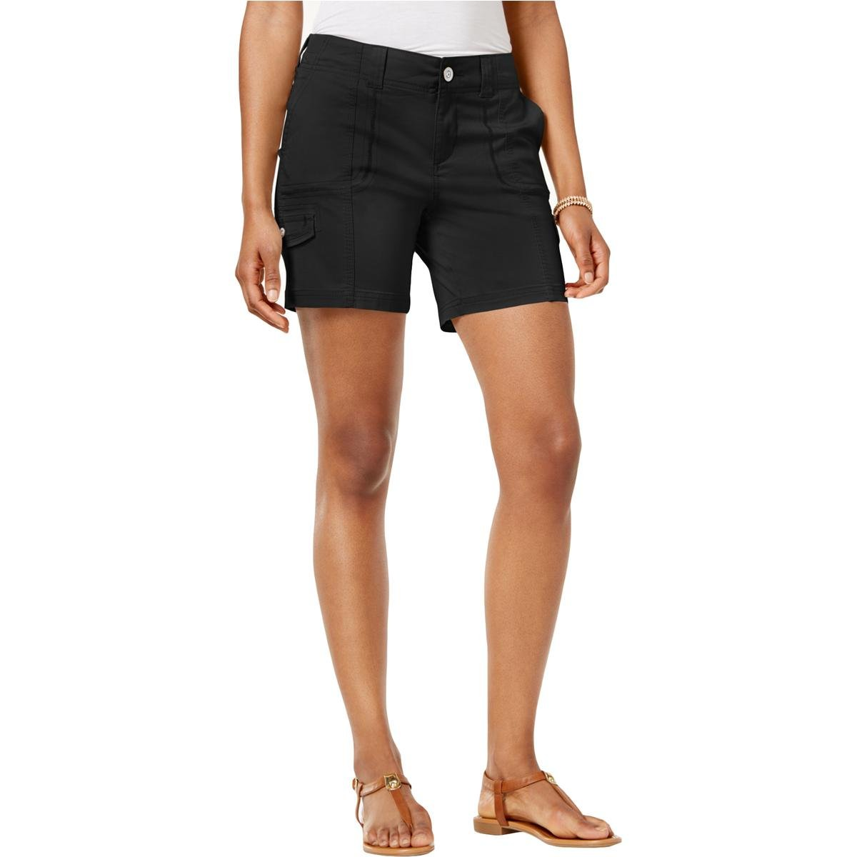 Style & Co.. Womens Petites Comfort Waist Mid Rise Cargo Shorts Black 12P