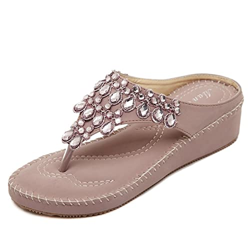 0e6250e23 Fimuy Women s Leather Anti-Skid Jeweled Thong Sandals Outdoor Flip Flops  Pink 36 5.5 D