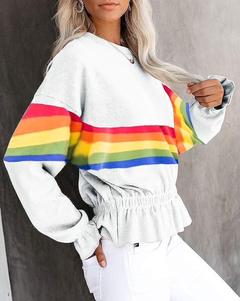 Umeko Womens Long Sleeve Tops Rainbow Print Striped Sweatshirt Ruffles Hem Tunic Blouse Shirts