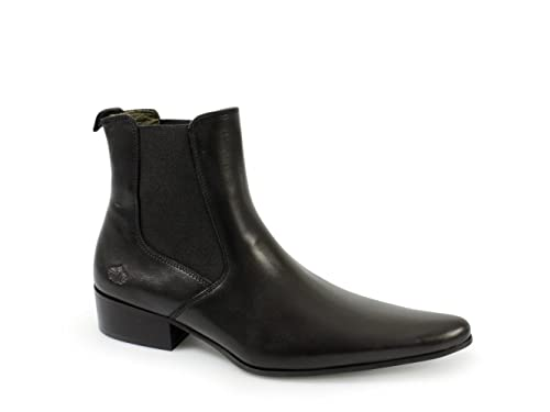 Ikon REVOLVER Mens Cuban Heel Pointed Leather Chelsea Boots Black   Amazon.co.uk  Shoes   Bags e01fd78f546c