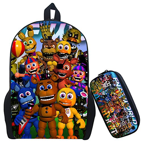 17 Inch Five Nights at Freddy's Backpack School Bag Rucksack Backpack with Pencil Bag-Various (FNTB-13)