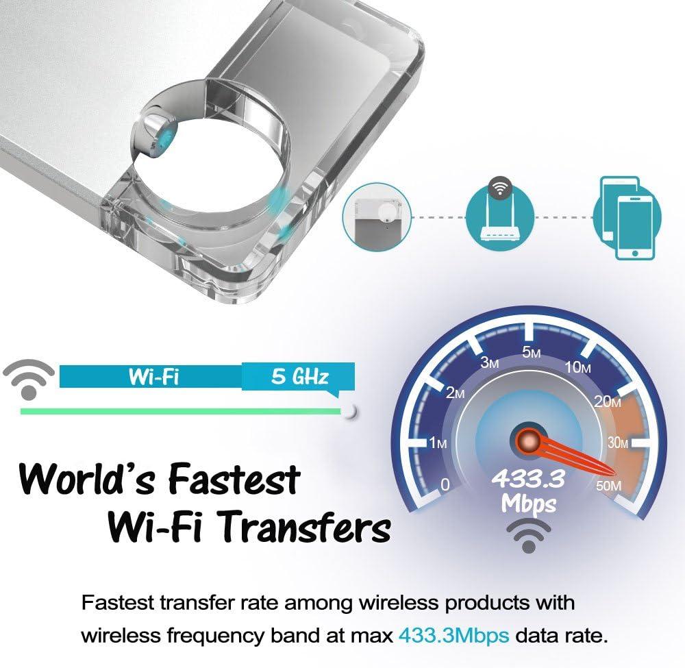 5G WI-FI Hyper Fast Speed Universal Media Storage Drive for Smartphones Tablets Computers V-smart FD100 64GB // 128GB // 256GB CrystalDisk Wireless Flash Drive 128GB Rose Gold