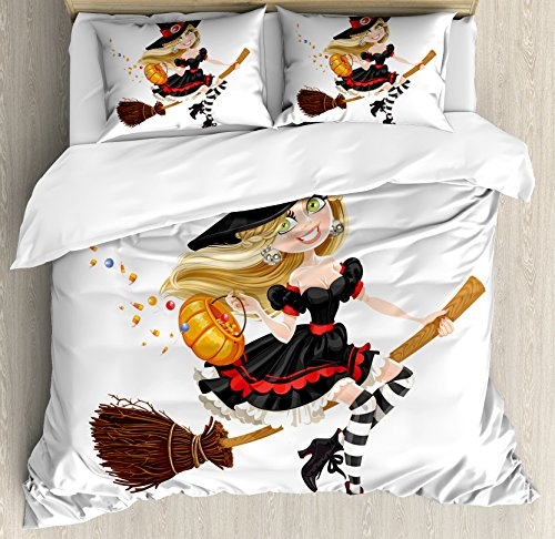 Lunarable Witch Duvet Cover Set Queen Size, Young Witch on a
