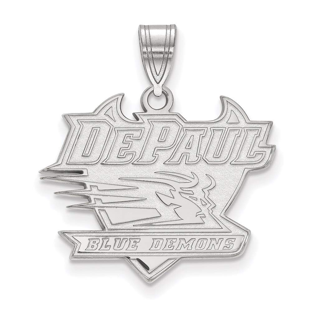 Lex /& Lu LogoArt 10k White Gold DePaul University Large Pendant