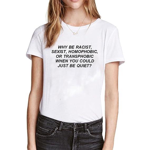 Yeesea Mujer Camisetas Manga Corta Impresión T Shirt Blusas Camisas Tops Blanco Small