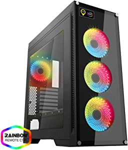GAMEMAX M911 Rainbow Black Case ATX Full Tower para PC Desktop de Gaming 0.8 mm SPCC Front Tempered Glass 4 Ventiladores RGB Rainbow con RF Remote 4 * USB 3.0/2.0 Side Full plexiglás