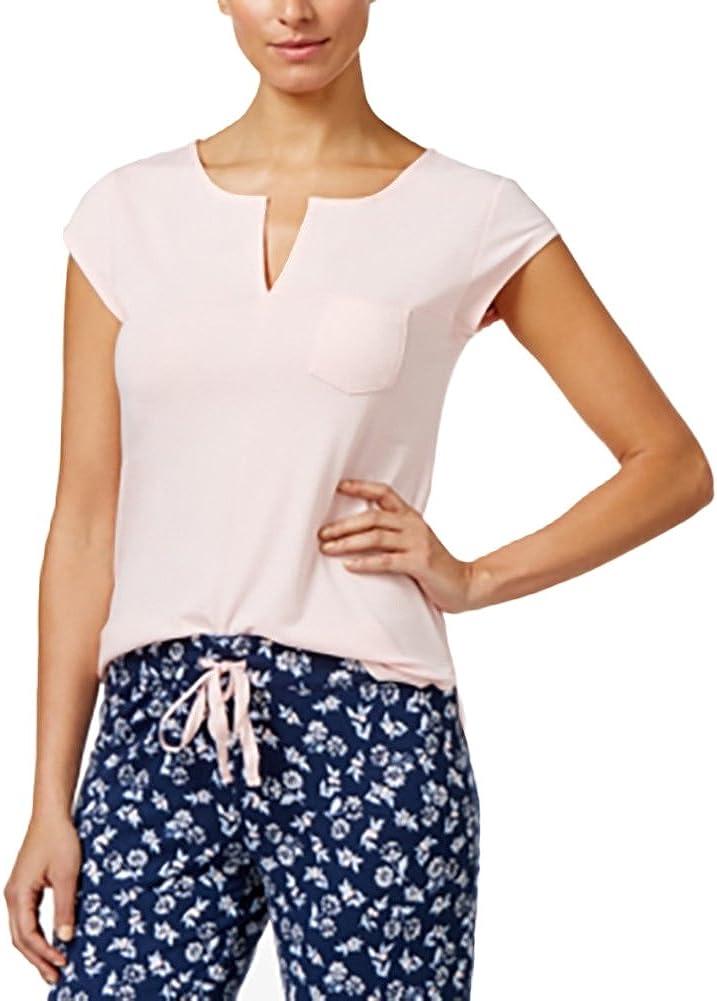Alfani Split-Neck Pajama Top Rosy Quartz XS Dark Pink