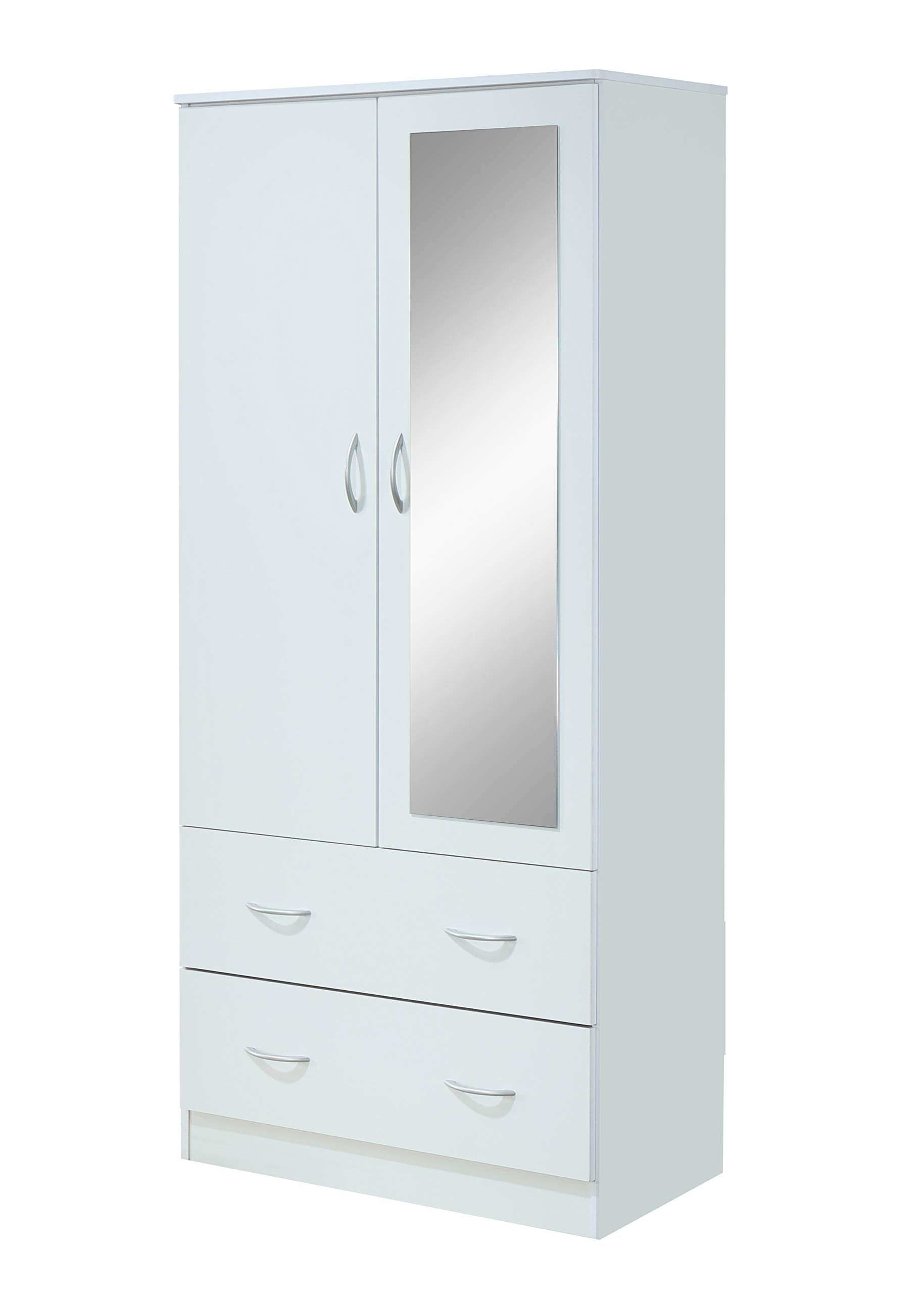 Hodedah HI882 Door 2-Drawers, Mirror and Clothing Rod in White Armoire,