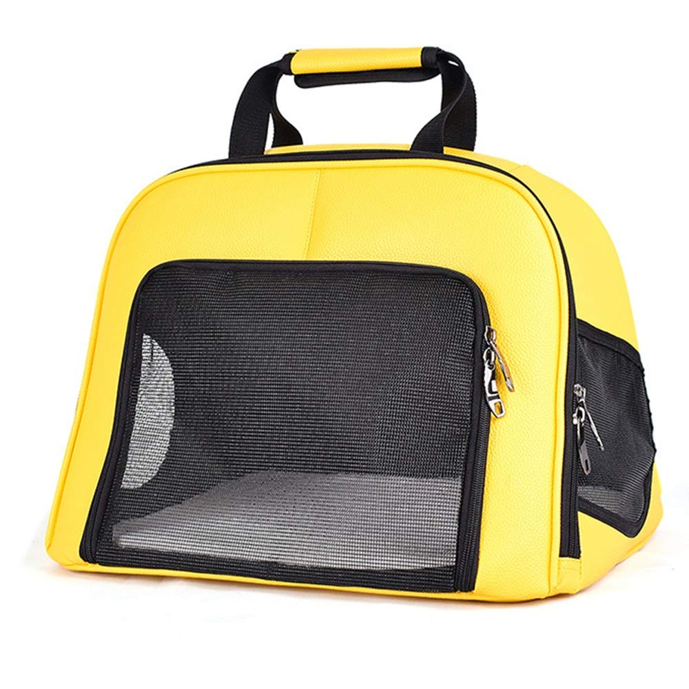 Pet Backpack PU Leather Transparent Grid Soft And Delicate Thick Velcro Handbag Breathable Foldable