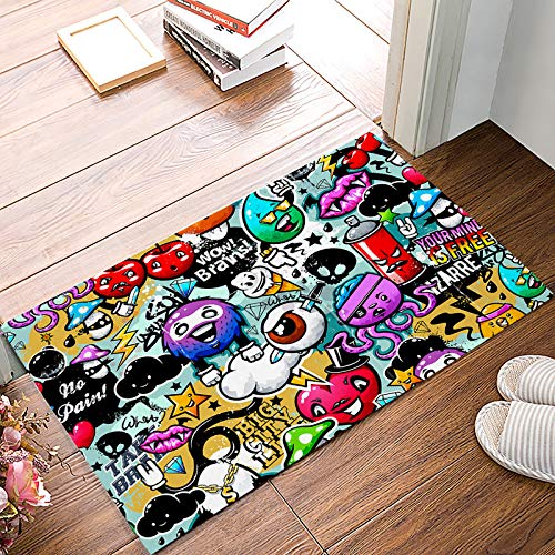Indoor Door Mats for Front Door Entrance Way Halloween Theme Cartoon Brains Eyeball and Monster Doormat Shoes Scraper Dirt Debris Mud Trapper Patio Rugs Low Profile Washable Carpet 20