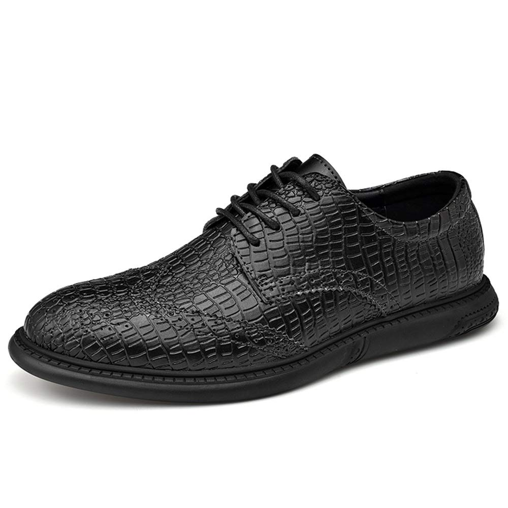 Gobling Men's Lace Up Oxfords British Brogue Shoes Crocodile Leather Business Formal Dress Shoes (Color : Black, Size : 9.5 M US) by Gobling Men's Shoes