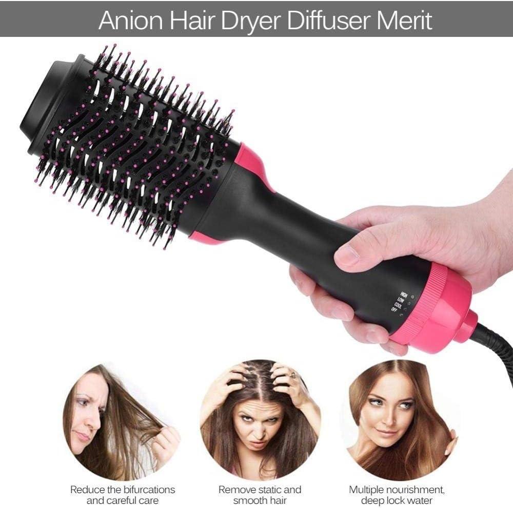 2 en 1 Secador de cabello multifuncionalVolumizador Rotación Cepillo de pelo caliente Rodillo rizador Rotar Styler Peine Estilismo Curling Plancha
