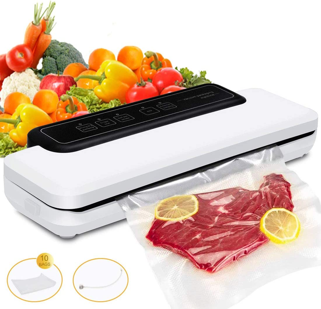 Meackle Vacuum Sealer Machine, Food Sealer for Dry and Moist Food, with Led Indicator Lights, Compact Size, For Home Sous Vide