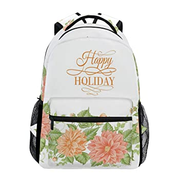 818ca4967567 Amazon.com: Backpacks Beauty Flower Happy Holiday School Book ...