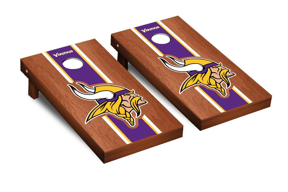 NFL Minnesota Vikings Rosewood Stained Stripe Version 2 Football Corn hole Game Set, One Size
