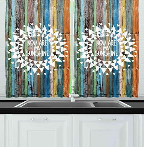 Ambesonne Kitchen Decor Collection Quote You Are My Sunshine Hippie Style Rustic Hearts Geometric Love Home Cafe Window Treatments For Kitchen Curtains 2 Panels 55x39 Inches Brown Blue Green Hippie Home