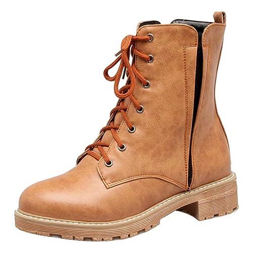 RAZAMAZA Mujer Tacón Ancho Botas Botas de Tobillo Cordones: Amazon.es: Zapatos y complementos
