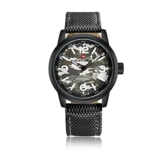 Qingmei hombre relojes militares analógico cuarzo fecha esfera redonda camuflaje nylon banda moda deporte Relojes: Amazon.es: Relojes