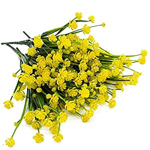 4pcs Artificial Yellow Daffodils Flowers Fake Shrubs UV Resistant Faux Plants Faux Plastic Bushes Indoor Outdoor Home Office Garden Patio Yard Table Wedding Farmhouse Centerpieces Pot Decor (Yellow) 2