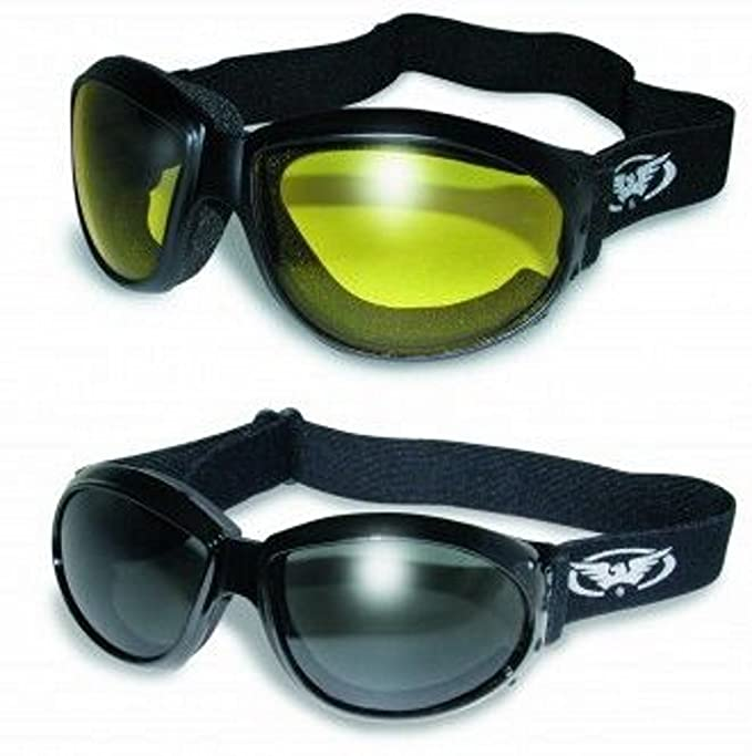 (2 GOGGLES) Motorcycle ATV Riding Smoke and Yellow Glasses Sunglasses Burning Man plus storage bags