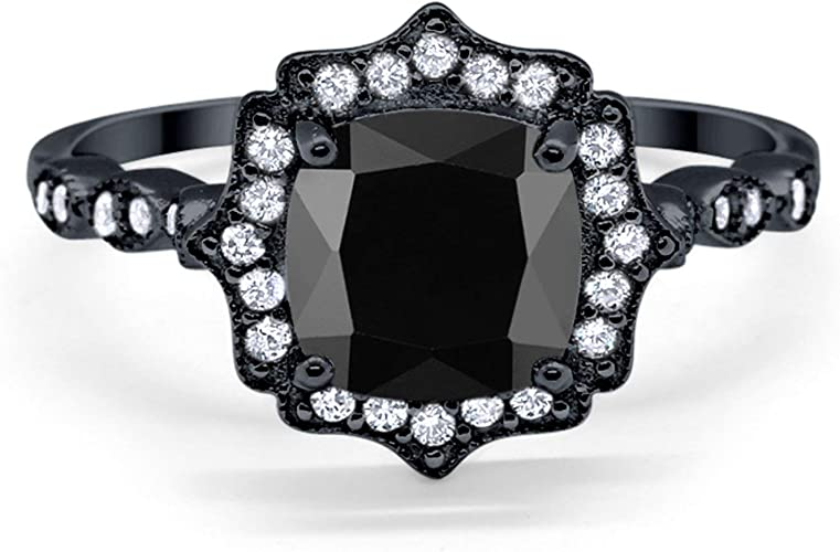 Blue Apple Co Halo Wedding Ring Black Tone Plated Simulated Cushion Amethyst Round CZ 925 Sterling Silver