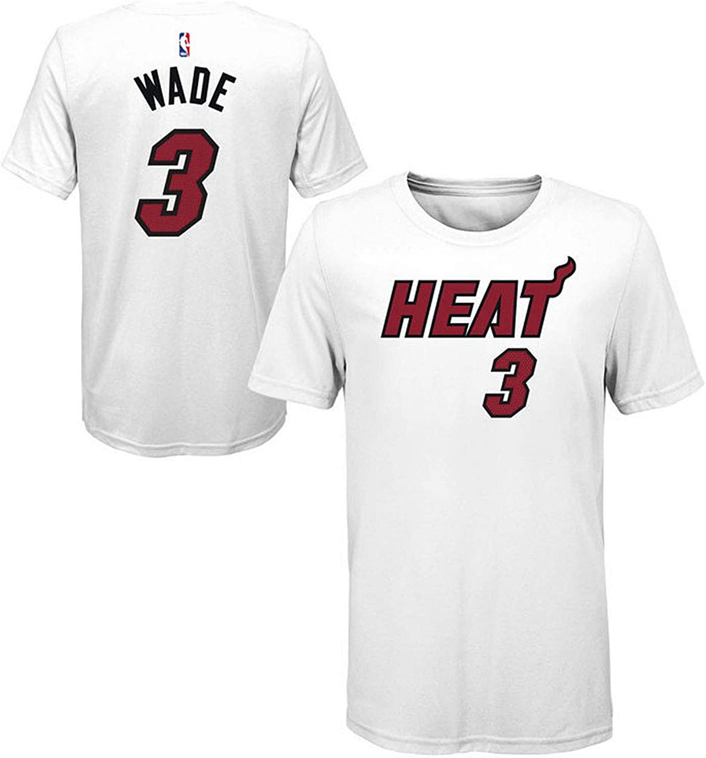 Outerstuff Dwyane Wade Miami Heat #3 Youth Icon Player Name /& Number T-Shirt White